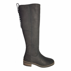 Burton Extra Wide Calf Ladies Boot Black Grain Nubuck