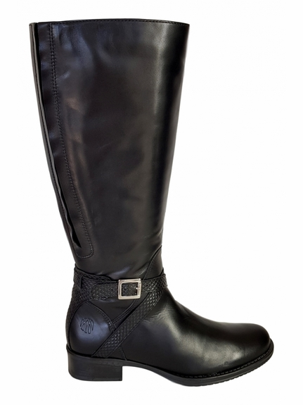 Caen Extra Wide Calf Ladies Boot Black Nappa/Nappa croco print