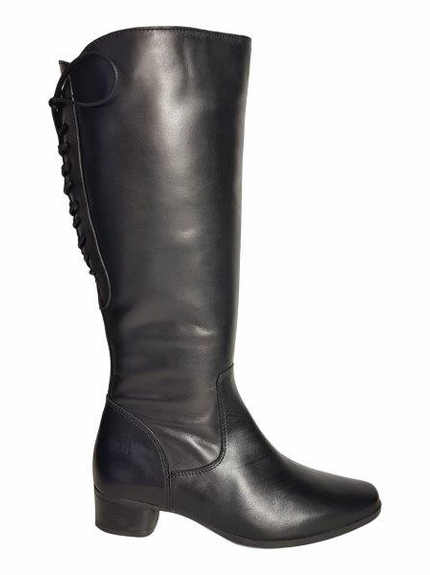 Cardiff Extra Wide Calf Ladies Boot Black Nappa