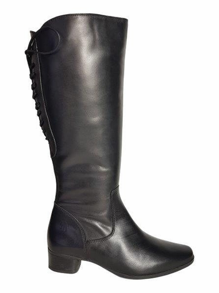Cardiff Wide Calf Ladies Boot Black Nappa