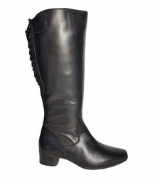 Cardiff Wide Calf Wide Calf Ladies Boot Black Nappa