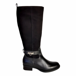 Cheddar Extra Wide Calf Ladies Boot Black Street/Suede