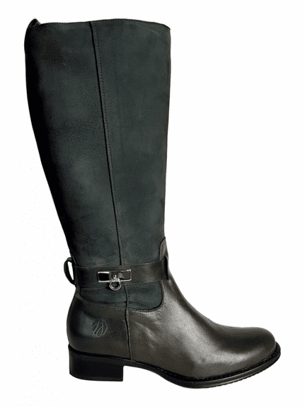 Cheddar Extra Wide Calf Ladies Boot Green Bristol/Goat Suede