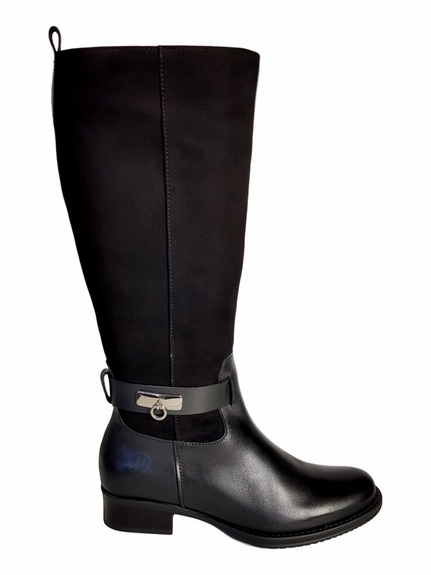 Cheddar Super Plus Wide Calf Ladies Boot Black Street/Suede