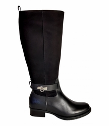 Cheddar Super Wide Calf Ladies Boot Black Street/Suede