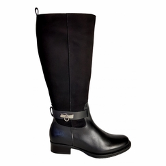 Cheddar Wide Calf Ladies Boot Black Street/Suede