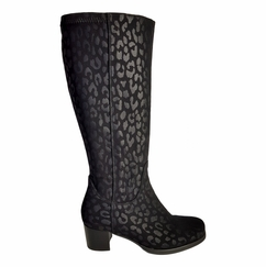 Crofton Extra Wide Calf Extra Wide Calf Ladies Boot Black Micro Tiger