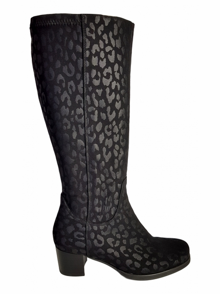 Crofton Extra Wide Calf Ladies Boot Black Micro Tiger