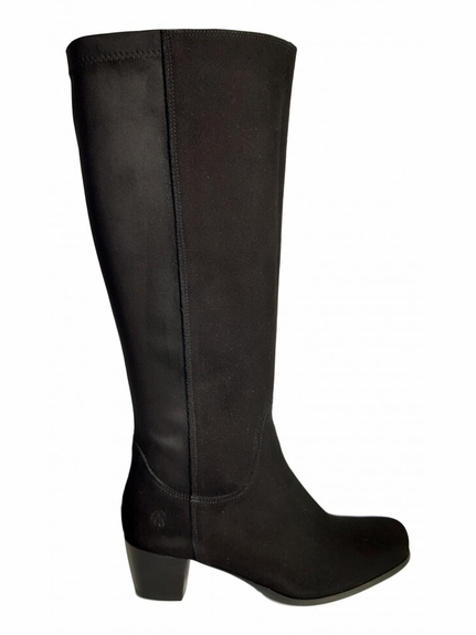 Crofton Super Plus Wide Calf Ladies Boot Black Suede/Stretch Suede
