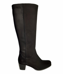 Crofton Super Wide Calf Ladies Boot Black Suede/Stretch Suede