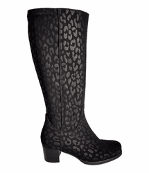 Crofton Wide Calf Ladies Boot Black Micro Tiger