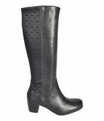 Crofton Wide Calf Ladies Boot Black Nappa/Feudo