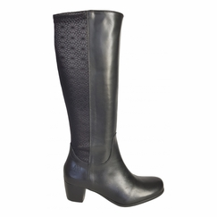 Crofton Wide Calf Wide Calf Ladies Boot Black Nappa/Feudo