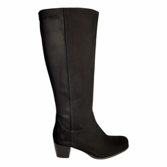 Crofton Wide Calf Ladies Boot Black Suede/Stretch Suede