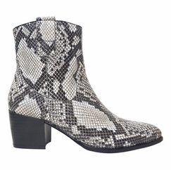 Epirus Extra Wide Fit Ladies Ankle Boot Black Snake