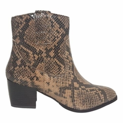 Epirus Normal Fit Ladies Ankle Boot Taupe Snake