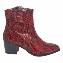 Epirus Wide Fit Ladies Ankle Boot Bordo Snake