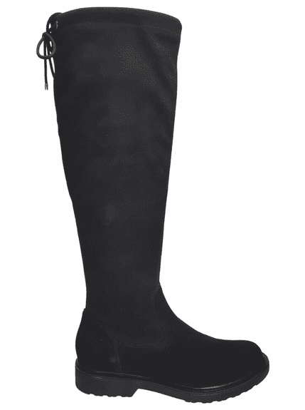 Kelso Extra Wide Calf Ladies Black Goat Suede/Stretch Suede