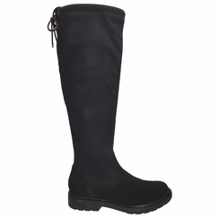 Kelso Super Wide Calf Ladies Black Goat Suede/Stretch Suede