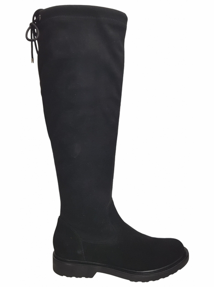 Kelso Wide Calf Wide Calf Ladies Boot Black Goat Suede/Stretch Suede