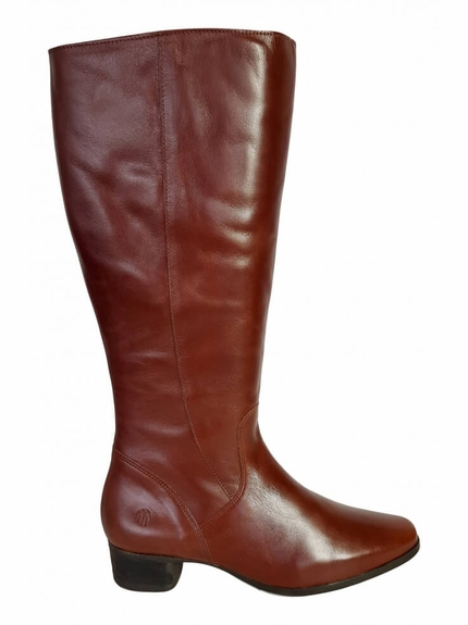 Lugano Super Plus Wide Calf Ladies Boot Cognac Street