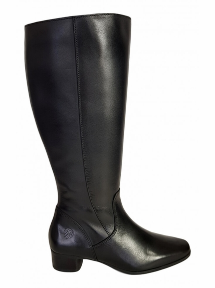 Lugano Wide Calf Ladies Boot Black Nappa Capri