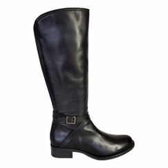 Melbourne Super Plus Wide Calf Ladies Boot Black Nappa Capri