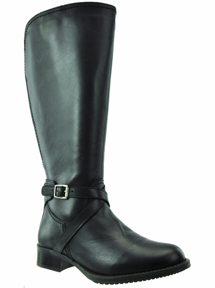 Melbourne Super Wide Calf Ladies Boot Black Nappa Capri