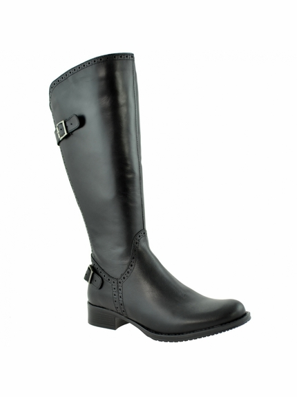 Napoli Wide Calf Ladies Boot Black Nappa Capri