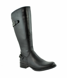Napoli Wide Calf Wide Calf Ladies Boot Black Nappa Capri