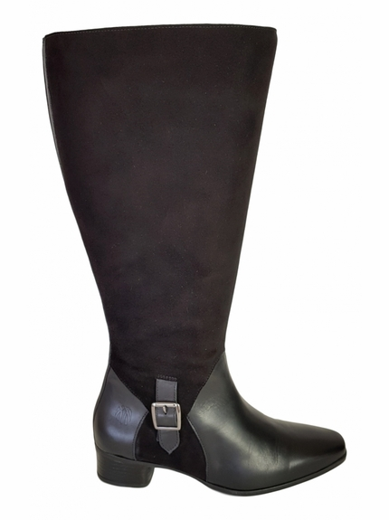 Perugia Extra Wide Calf Extra Wide Calf Ladies Boot Black Street/Suede