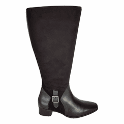 Perugia Extra Wide Calf Ladies Boot Black Street/Suede