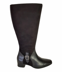 Perugia Wide Calf Wide Calf Ladies Boot Black Street/Suede