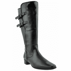 Piraens Extra Wide Calf Ladies Boot Black Nappa