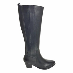 Prescot Wide Calf Ladies Boot Black Silk
