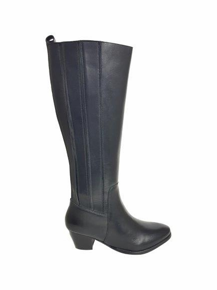 Prescot Wide Calf Wide Calf Ladies Boot Black Silk