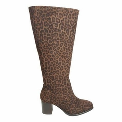 Rabat Extra Wide Calf Ladies Ankle Boot Brown Leopardo stretch