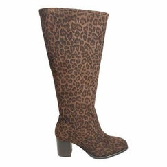 Rabat Extra Wide Calf Extra Wide Calf Ladies Ankle Boot Brown Leopardo stretch