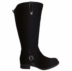 Sydney Extra Wide Calf Ladies Boot Black Goat Suede/Patent