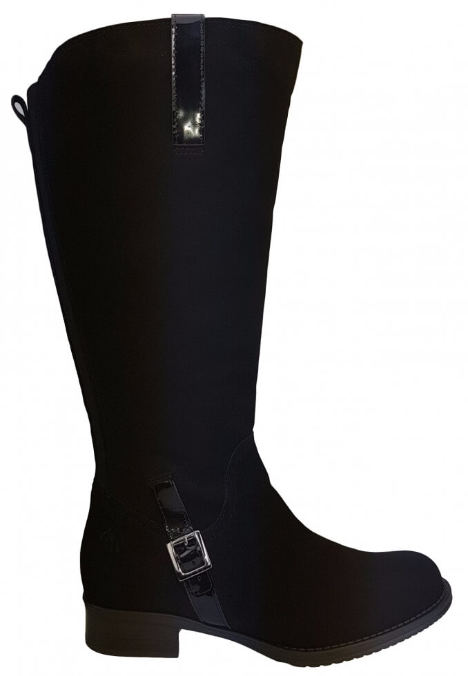 dd9c51bd95 Sydney Super Plus Wide Calf Ladies Boot Black Goat Suede/Patent - Super  Plus Wide Calf® Boots