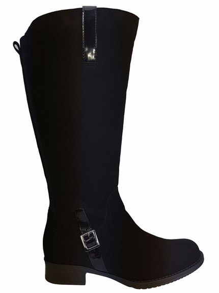 Sydney Super Plus Wide Calf Ladies Boot Black Goat Suede/Patent