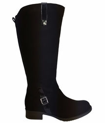 Sydney Super Plus Wide Calf Super Plus Wide Calf Ladies Boot Black Goat Suede/Patent