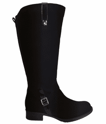 Sydney Wide Calf Ladies Boot Black Goat Suede/Patent