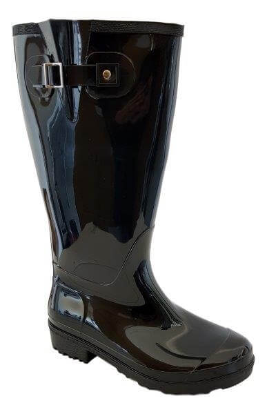 c629bb13b1b Wellies Extra Wide Calf Ladies Boot Black PVC - Rain Boots  Extra ...