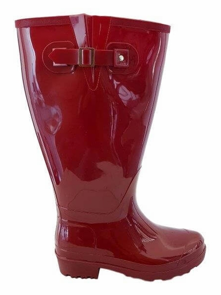 Wellies Extra Wide Calf Ladies Boot Red PVC