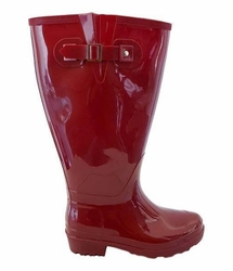 Wellies Super Wide Calf Ladies Boot Red PVC