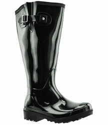 Wellies Wide Calf Ladies Boot Black PVC