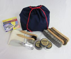 Shoe Shine Kit in Blue Cloth  Bag