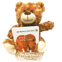Brown Bear Baby Gift Basket with Board Book and Bear