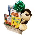 Unisex Happy Baby Gift Basket with Four Board Books